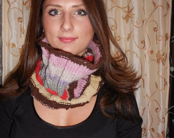 20%OFF, Pink Wool Cowl, Cozy Warm Cable, Winter Neck Warmer.