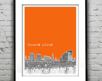 Presidents Day Sale 15% Off - Buenos Aires Argentina Skyline Poster Art Print