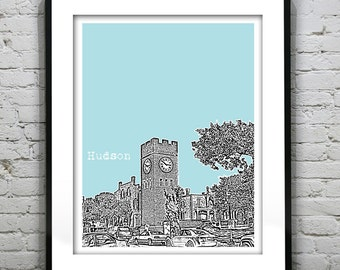 1 Day Only Sale 10% Off - Hudson Ohio Poster Print Art Ohio Skyline  OH Item T1268