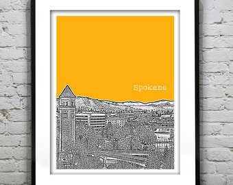 Spokane Washington Poster Skyline Art Print