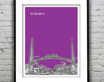 Modesto California Skyline Poster Art Print CA