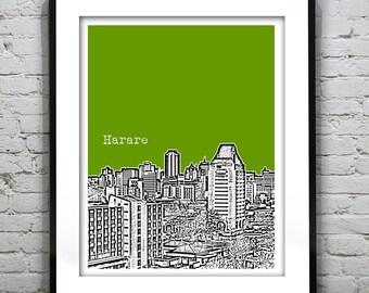 Harare Zimbabwe Africa Skyline Poster Art