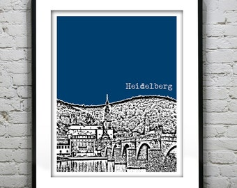 Heidelberg Germany City Skyline Poster Print Art