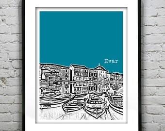 Hvar Croatia City Skyline Poster Art Print