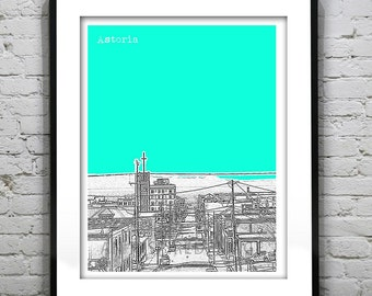 Astoria Oregon Skyline Poster Print Art Clatsop County OR