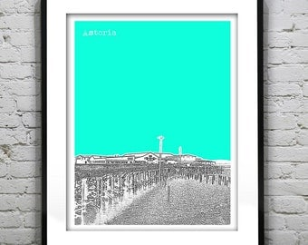 Astoria Oregon Skyline Poster Art Print Pier Clatsop County OR