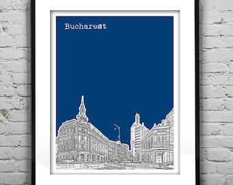 Bucharest Romania Skyline Art Print Poster Hotel Continental Calea Victoriei