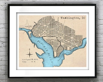 Presidents Day Sale 15% Off - Washington, DC Art Print Poster District of Columbia Old Vintage Map