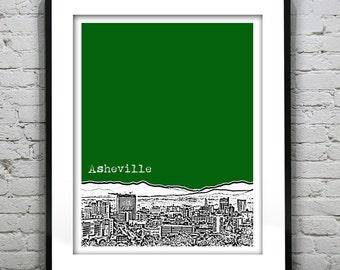 Asheville North Carolina City Skyline Poster Art Print NC Version 1
