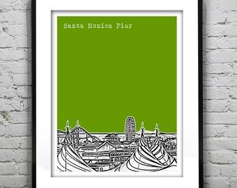 Santa Monica Pier California Poster Art Skyline Print Version 1