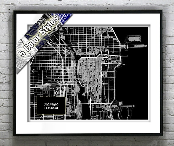 Chicago Illinois Blueprint Map Poster Art Print Several Sizes