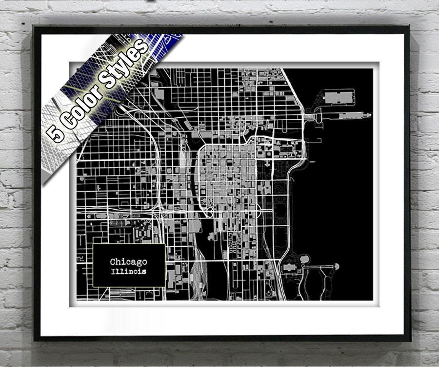 Chicago Illinois Blueprint Map Poster Art Print Several Sizes