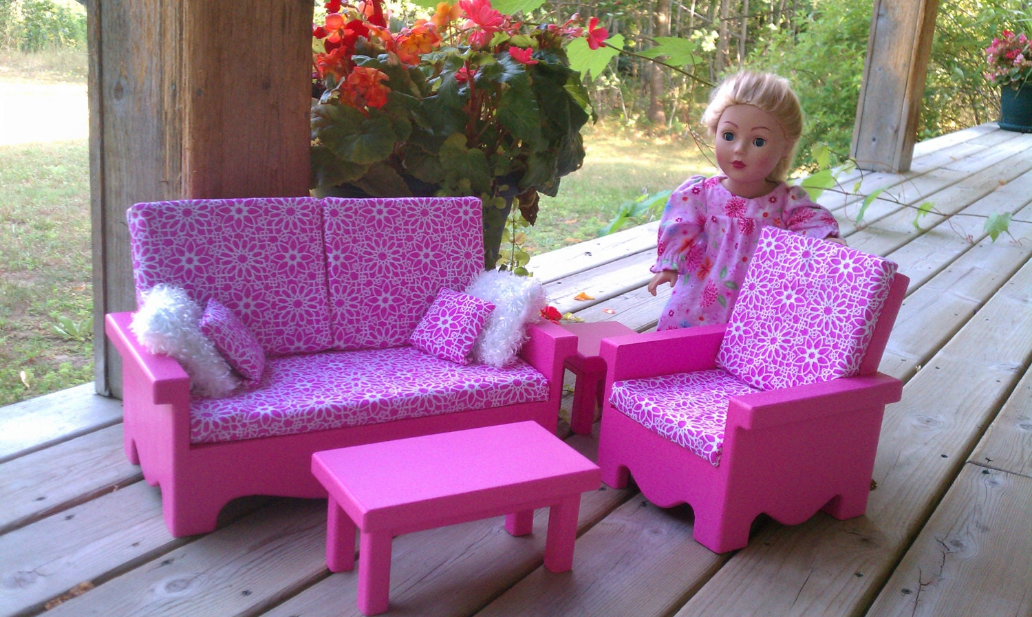 american girl living room livingroom set for american doll pink by craftsbyla 12956