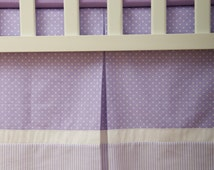 Custom Crib Skirt / Dust Ruffle with Purple and White polka dot and Stripes cotton / Cotton lining / Box Pleat / Adjustable or gathered