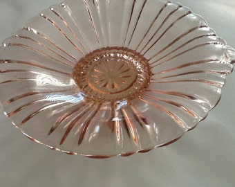 Vintage pink glass candy dish