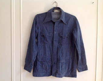 "L/S Vintage Denim Work Shirt by ""Lucien Piccard"" - M/L"