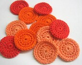Handmade crocheted 1 inch circle appliques in red and orange