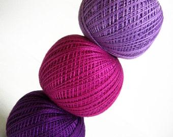 Cotton crochet thread, 3 balls, purple and pink mix, 25 g per ball
