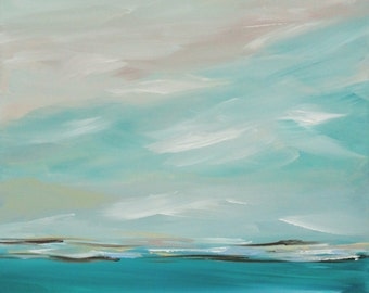 Original Painting Seascape Abstract Coastal Blue 24 x 30 Waters Waves Ocean Landscape Modern Art Contemporary Painting Canvas