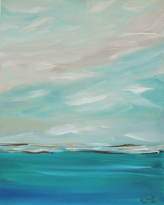 Original Painting Seascape Abstract Coastal Blue 24 X 30