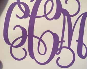 "1--4"" vinyl monogram decal"