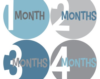 Baby Month Stickers, Monthly Baby Sticker, Baby Boy Monthly Stickers, Milestone Stickers - Blue, Grey, Baby Boy, Boy, COMPLETE SET