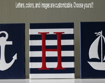 Nautical Nursery Decor, Personalized Nursery Letters, Baby Name, Nautical Painting, Nautical Letters, Nautical Wall Decor, Nautical Name