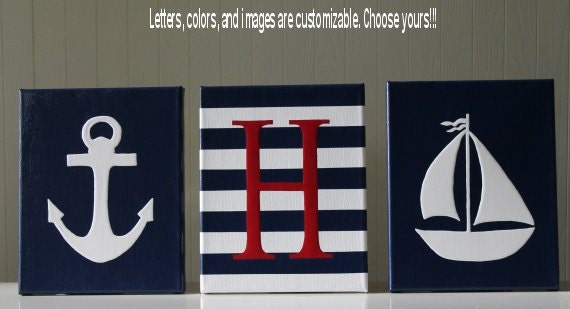 Personalized Nautical Wall Decor : Nautical nursery decor personalized letters baby