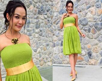 Bridesmaid Green Lemon silk chiffon Strapless  Beach evening short Sun dress fits S M L XL