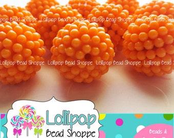 ORANGE Berry Beads 20mm Beads Raspberry Beads Vintage Style Beads 10ct Chunky Beads Bubblegum Beads Acrylic Beads Opaque Bubble Gum Beads