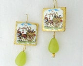 Earrings in lava stone and green agate pendant  - Sicilian Style - gold for a special present - Earrings with Sicilian cart- available
