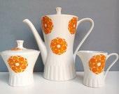 Kitsch tea set, Orange floral teapot, floral teapot set.