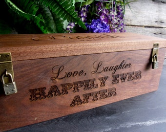 Wedding Wine Box, Personalized Wine Box, Custom Made, Wine Box, Wine Box for Wedding, Anniverary Wine Box, Love Laughter, Happily Ever After