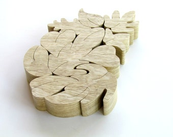 Wooden toy, Natural Wood Puzzle,  Leaf Puzzle, Eco-friendly toy, Educational Toy,  Montessori toy