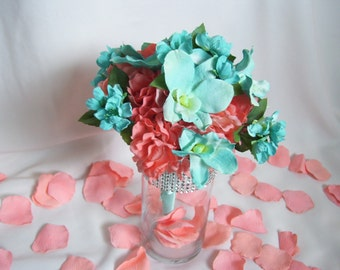 Hannah's Silk Bridesmaids Bouquets, Coral Hydrangea,Turquoise Dendrobium orchids, Turquoise Cherry Blossoms