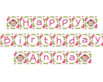 DIY - Girl Mod Monkey Birthday Name Banner- Coordinating Items Available