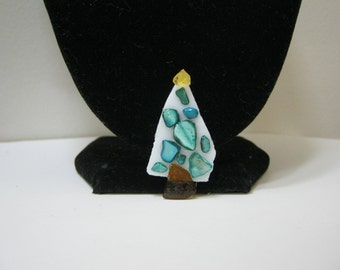 Christmas Stained Glass Tree Brooch Christmas Tree Holiday Jewelry Christmas Pin Gift Idea Glass Brooch Accessories