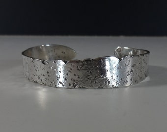 Artisan Sterling Silver Brick Cast Hand Hammered Cuff SOLD