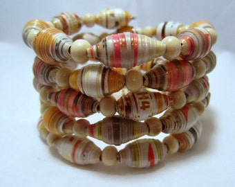 Memory Wire Paper Bead Bracelet 1st Anniversary Gift for Her Mom