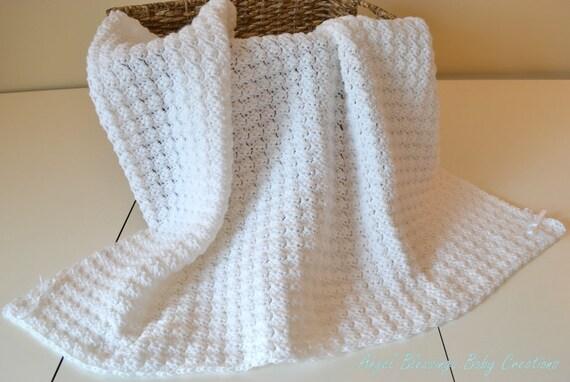 Free Knitting Patterns For Baby Christening Blankets : White Christening Blanket Crocheted Afghan Star Textured