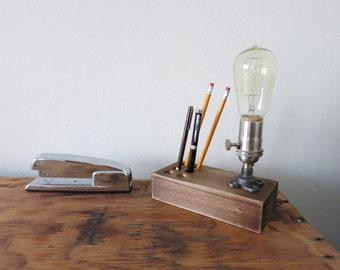 The Graduate - Edison desk lamp w/ Pen and Pencil holder