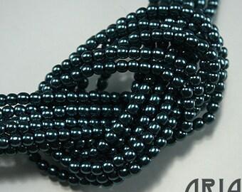CERULEAN BLUE: 2mm Czech Glass Pearl Beads (150 beads per strand)