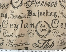 Black French Script Fabric, Paris Country Home, Shabby Chic Cottage, French Stamp, French Drapery/Upholstery Fabric. (1) Yard, 56'' Width