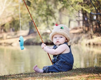 Custom Made FLY FISHING Bucket Hat CROCHET Fisherman Hat with Fish Boy or Girl, SiZES Preemie Newborn 0-3month,3-6 month,6-12 month,1-3 yr