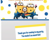 Digital Minions day Birthday Party Bag topper, treat bag, loot bag, favor bag, cello bag Personalized Printable Pdf