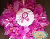 Pink Breast Cancer Awareness Deco Mesh Wreath with hand painted ribbon sign