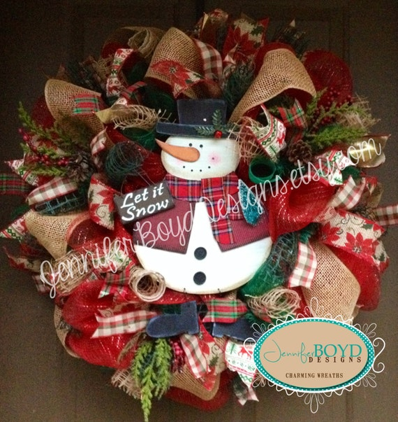 Rustic snowman christmas mesh wreath with by for Burlap snowman wreath