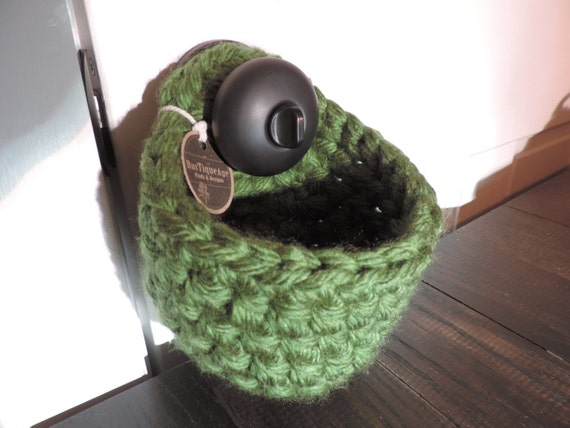 Crochet Round Pouch : Crochet Basket Round Small Door Knob Pouch Storage Basket Bin Decor ...