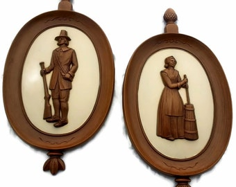 Syroco Pilgram 3-D Wall Hanging Pair Man and Woman Musket Butterchurn