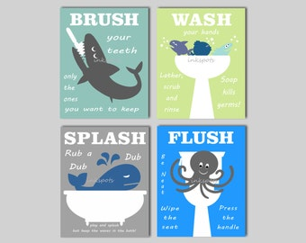 Kids Bath Art, Bathroom Wall Art, Shark Bath, Nautical Bath Prints, Bath Rules, Kids Bathroom Art, Kids Bathroom Signs, Choose Colors KB02